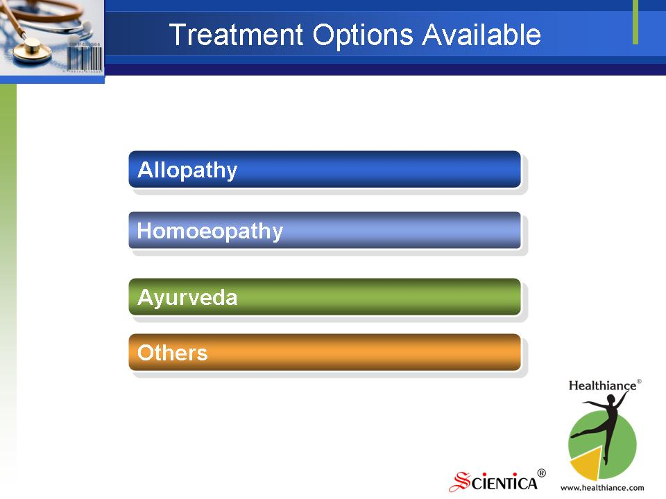 Treatment Options Available - Allopathy, Homoeopathy, Ayurveda